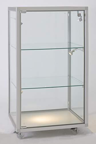 MHN Vitrina de cristal pequeña de pie, se puede cerrar, media altura, con iluminación LED, ruedas, aprox. 50 x 40 cm