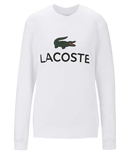 Lacoste SH0605 Herren Sweatshirt,Männer Pullover,sportlicher Sweater, Schriftzug,Logo,Freizeit,Regular Fit,Baumwolle,White(001), XXX-Large (8)