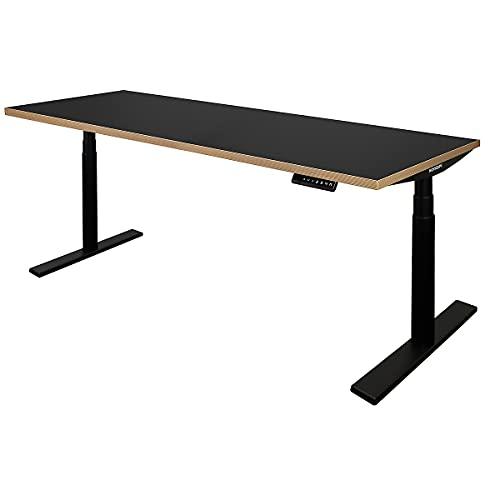 Novigami Schreibtisch elektrisch höhenverstellbar Josi | BxT 1800 x 800 mm | Gestell Schwarz | Schwarz-Multiplex | Tischgestell Stehtisch Bürotisch Tischplatte