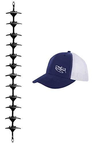 2Stoned Cap-Rack XXL Kappenhalter in Schwarz mit 12 Clips zum Aufhängen von bis zu 36 Baseball Caps + Zugabe