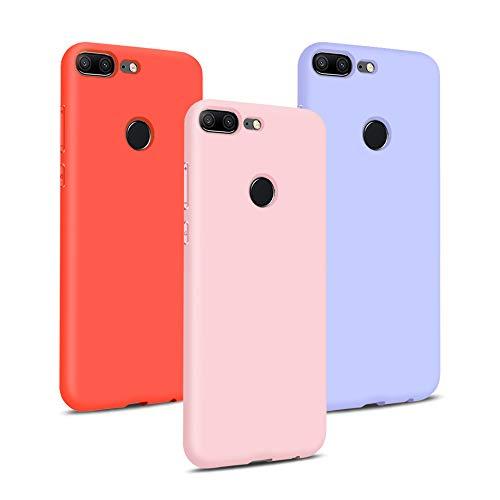 TVVT 3X Coque Huawei Honor 9 Lite, Étui Couleur Unie Silicone Housse Ultra Mince Ultra-Lumière Premium Flexible Souple TPU Anti-dérapante Anti-Choc Housse - Rose Clair, Violet Clair, Rouge