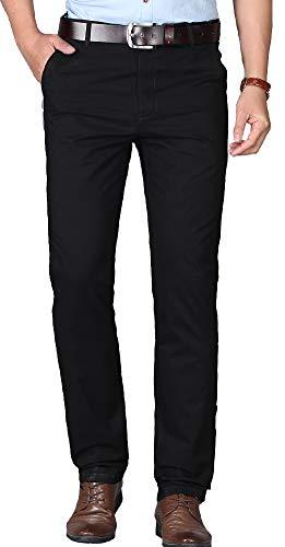Kuson Homme Pantalon Anti-Rides Taille Haute Coton Tube Droite Décontracté Noir 48