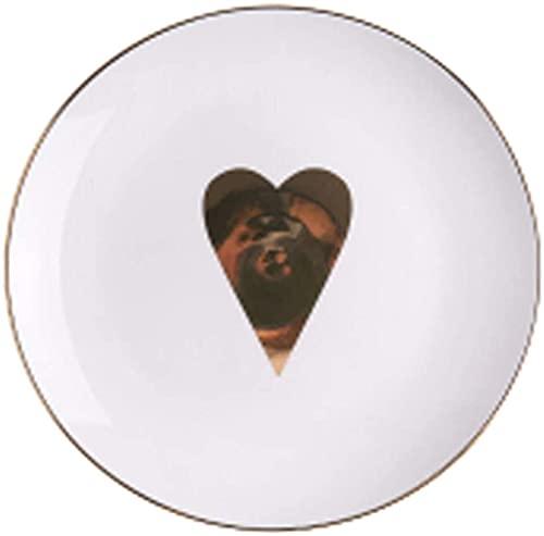ZFB8B Cuencos y tazones Vajilla de cerámica de Oro de Estilo nórdico Plato de Cocina (Color: Amor Dorado, tamaño: 8 Pulgadas) Cuencos para Mezclar (Color : Golden Heart Shape, Size : 10 Inches)