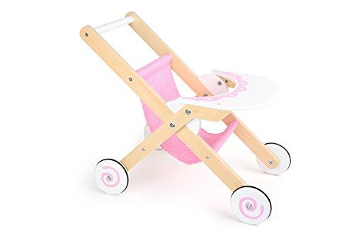 Small Foot 10741 Puppenbuggy Mädchentraum aus Holz mit gummierten Reifen, mit Ablagebrett, Puppenzubehör für Kinder ab 3