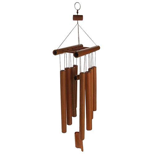 Garden Deco Nrpfell Handgemaakte bamboe buizen Windgong Holgestemde muziek Natuurlijke bamboe windgong met een ladder bovenop voor binnen en buiten
