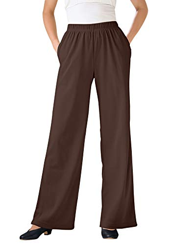 Woman Within Women's Plus Size 7-Day Knit Wide Leg Pant - 1X, Chocolate