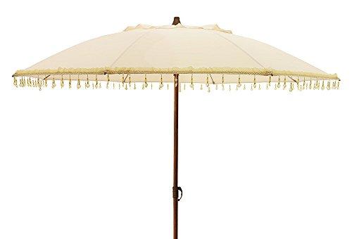 zeitzone Sonnenschirm Bali Gartenschirm Beige mit Schmuck-Steinen Erdspieß Ø 160cm