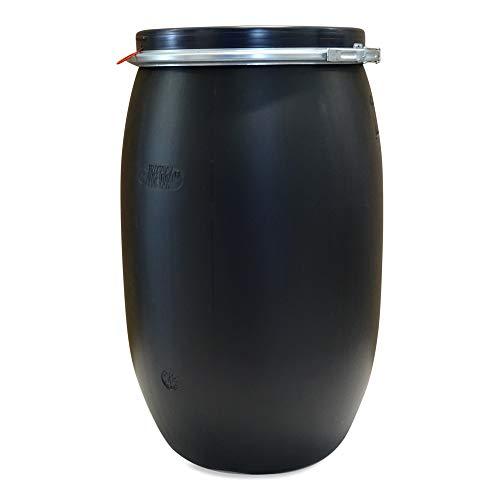 120 Liter Regentonne Futterfass Trester Silage Lagerfass Spannfass Deckelfass schwarz