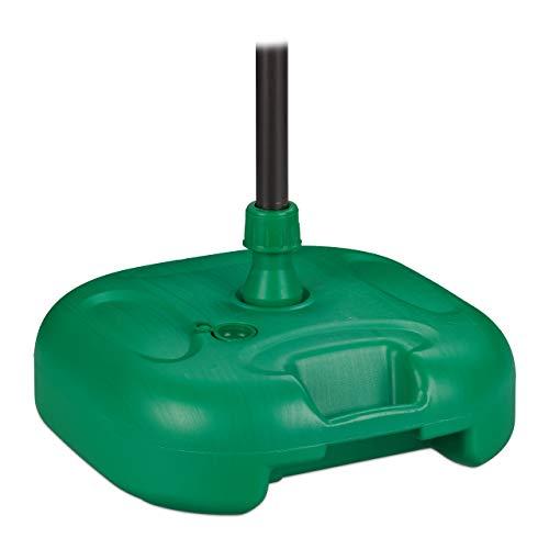 Relaxdays, grün Sonnenschirmständer, befüllbar mit Wasser o. Sand, Stockgrößen 25-32mm, Kunststoff Schirmfuss 44x42 cm