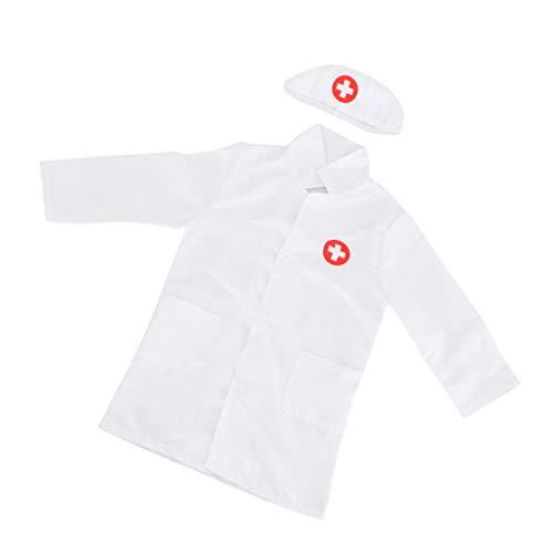 Kinderarzt Arzt/Krankenschwester Kostüm Laborkittel Arztkittel mit Kappe Uniform - Weiß
