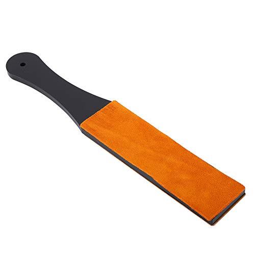 Aiguiseur manuel de couteaux à poignée acrylique en cuir PU double taille, rasoir droit, pour polir le cuivre, aluminium pour polir l'or, l'argent, le laiton