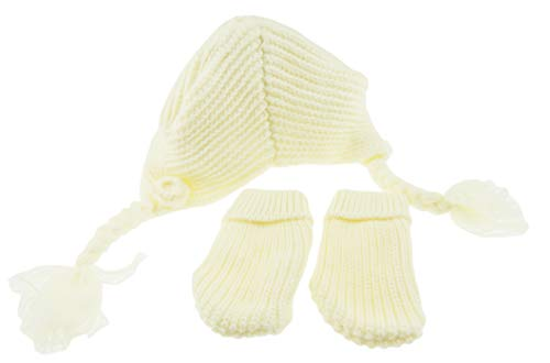 Glamour Girlz Bonnet d'hiver super mignon et doux pour bébé fille en tricot torsadé avec fleur et moufles jusqu'à 3 mois (crème)