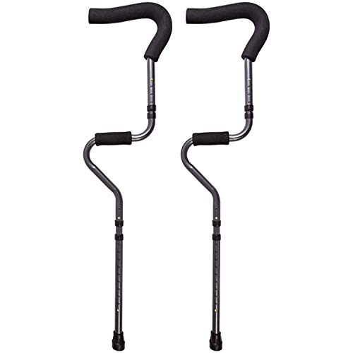 Underarm Adult Medical Crutches (1 Pair), Ergonomic S-Shape Design, Foldable Portable Medical Crutch, Height Adjustable, Lightweight Aluminum Alloy Walker