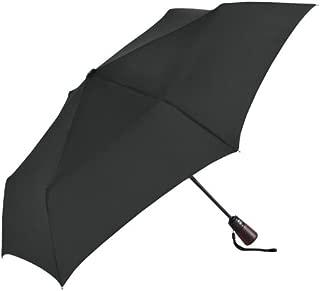 "ShedRain Ultimate Umbrella 44"" ARC, Auto Open/Close Wood handle, leather handle strap, 759562 (Black)"