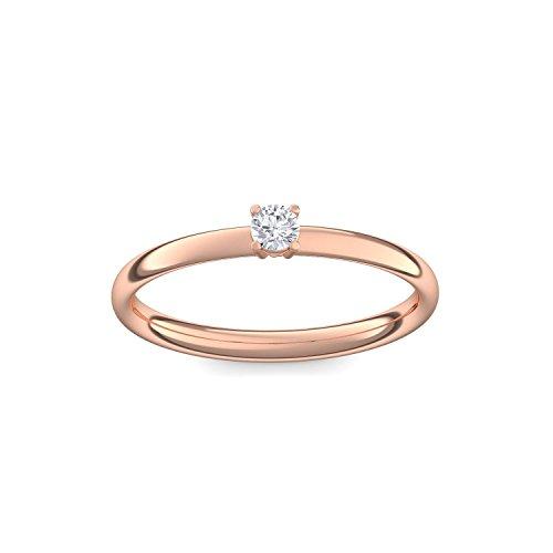 Verlobungsring Vorsteckring Rotgold Ring Diamant 750 + inkl. Luxusetui + Diamant Ring Rotgold Diamantring Rotgold 0,08 Carat SI1/H (Rotgold 750) - Concinnity Amoonic AM161 RG750BRFA56