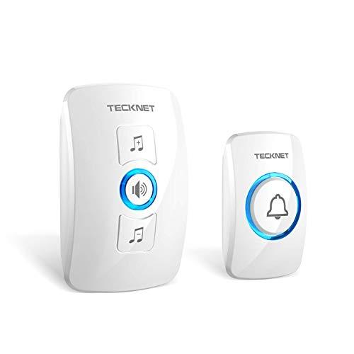 TECKNET Wireless Doorbell, Wall Plug-in Cordless Door Chime at 820-feet Range with 32...