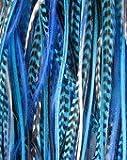 Sexy Sparkles - Extensión de cabello de plumas azules reales, 15-30 cm, incluye dos microesferas de silicona