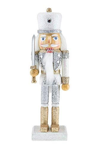 Clever Creations - Schiaccianoci da collezione - decoro natalizio ideale per qualsiasi addobbo - 100% legno - Soldato con spada argento