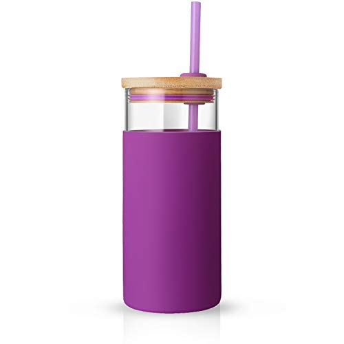 tronco 20oz Glass Tumbler Glass Water Bottle Straw Silicone Protective Sleeve Bamboo Lid - BPA Free (Violet)