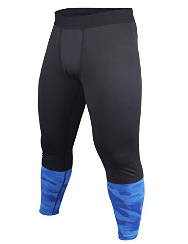 Herr Bodybuilding Byxor Kompression Legging Tights sporter Gym Kondition Svart&Camo X-Large