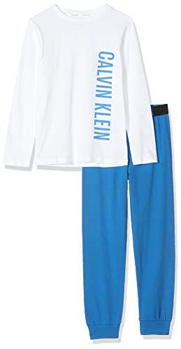 Calvin Klein Knit PJ Set (LS+Cuffed) Pijama, Blanco (1white/1princessblue 0ld), 128 (Talla del Fabricante: 8-10) (Pack de 2) para Niños