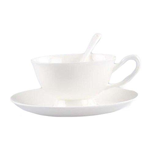 Soucoupes en Porcelaine Tasse à café Parfaits/Soucoupe/cuillère Tasses en céramique Tasse Blanch