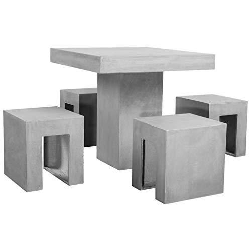 vidaXL Tuinset Beton 5-delig Tafel Stoel Tuintafel Tuinstoel Tuinmeubel Set