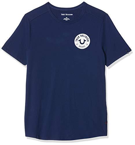 True Religion Herren Crew MULTILOGO T-Shirt, Blau (Solid Navy 4142), Medium (Herstellergröße: M)