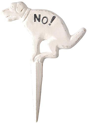 Esschert Design Steckschild, Verbotsschild für Hunde No Hund, antik-weiß aus Gusseisen, ca. 24 cm x 33 cm