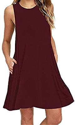 Summer Beach Dresses for Women Tshirt Sundresses Boho Casual Sleeveless Floral Shift Pockets Swing Loose Damask