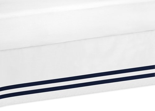 Sweet Jojo Designs Navy and White Queen Bed Skirt for Anchors Away Nautical Boys Bedding Sets