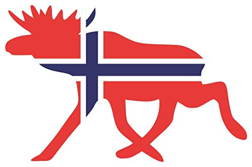Samunshi® Elch Aufkleber Elchhirsche Norwegen Norge Flagge Nationalfarben in 8 Größen (10x6,5cm Color_Title)
