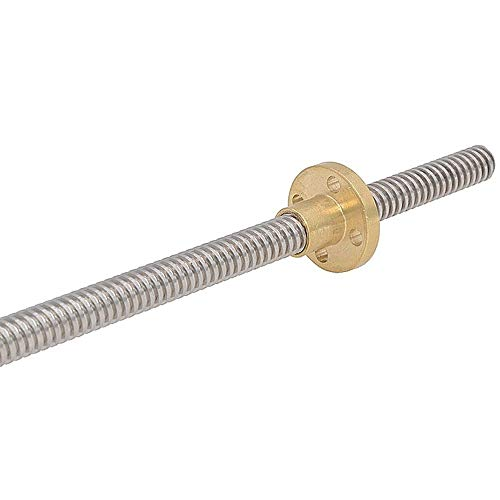 WEJUANR 3D-Drucker Trapez- Rod T8 Bleischraubengewinde 8mm Pitch 1 Mm Blei 1mm Länge 100/150/200/250/300/350/400/450/500/550/600/650/700/750 / 800mm Mit Messingmutter (Size : 400mm)