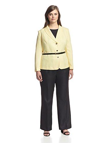 Tahari ASL Womens Petites Harry Herringbone 2PC Pant Suit Yellow 6P
