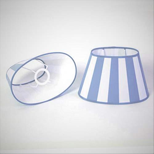 Lampenschirm-oval-hell-blau-weiss-gestreift konische Form Ø 30m (20 * 30 * 18cm)