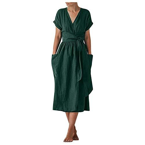 Damen Baumwoll Leinen Langes Kleid Lässig Einfarbig Kreuz V-Ausschnitt Kurzarm Kleid mit Taschen und Gürtel(XL,Grün)