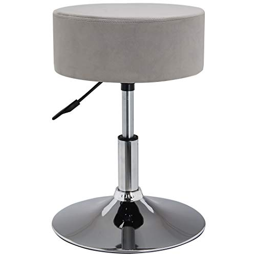 Drehhocker Sitzhocker Hocker RUND höhenverstellbar drehbar aus Kunstleder Farbauswahl Duhome 428S, Farbe:Grau, Material:Samt