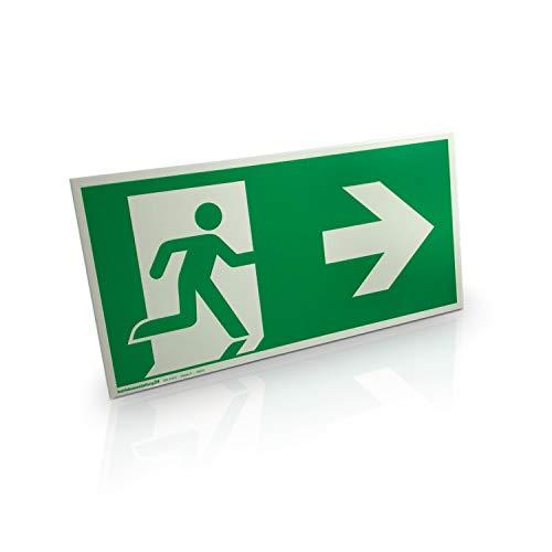 Betriebsausstattung24® Fluchtweg & Notausgangsschild | Pfeil rechts | langnachleuchtend gemäß ASR A1.3 DIN 7010 DIN 67510 | Aluminium 30,0 x 15,0 cm