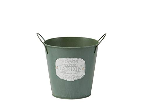 "meindekoartikel DEK-Topf Übertopf Kübel ""Jardin"" aus Zink-Blech grün – Ø 16cm x Höhe 15cm"