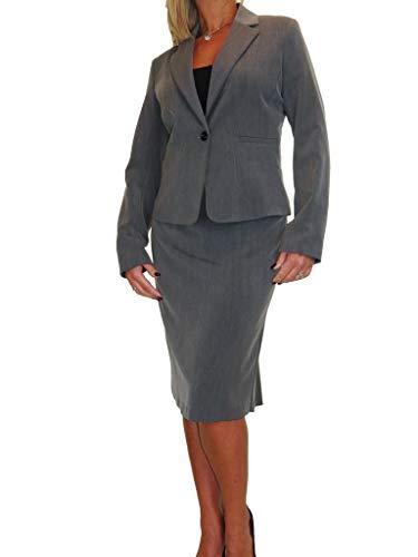Women's Smart Fully Lined Washable Lightweight 2 Piece Blazer Skirt Suit Formal Office Event Business Dark Grey 10-22 (16)