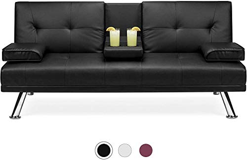 yoliyana Modern Faux Leather Convertible Futon Sofa w/Removable Armrests, Metal Legs, 2 Cupholders - Black