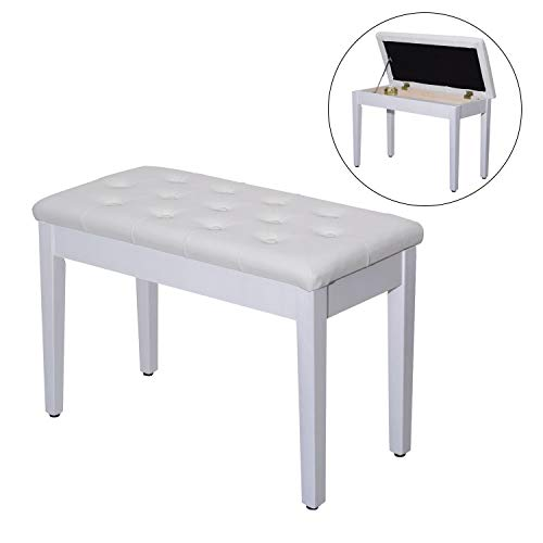 Affordable White Modern Elegant Leather Padded Piano Bench with Storage Double Duet Seating Keyboard...