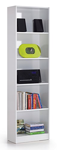 SERMAHOME- Estantería, Librería, Biblioteca con 5 Compartimentos. Color Blanco. Medidas: 52 cm Ancho, 180 cm Alto, 25 cm Fondo.