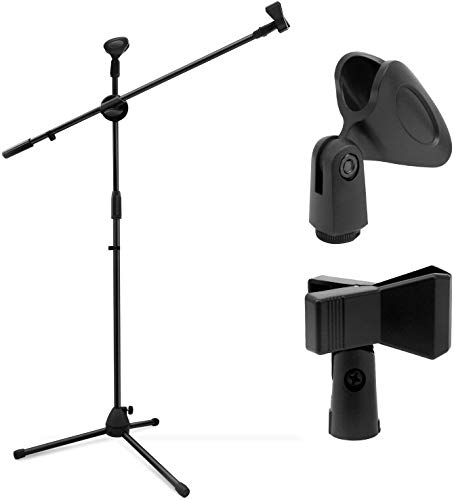 Mikrofonständer für 2 Mikrofone, Ohuhu Mikrofon Ständer Mit Schwenkarm, 2 Mikrofonklemmen und Adapter – Extra großer Tripod Standfuß für einen stabilen Stand - Schwarz