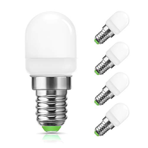 LEHASI - Bombilla LED pequeña E14 (6000 K, luz blanca fría, 2 W, equivalente a bombilla de 20 W, rosca Edison pequeña, 150 lúmenes, ángulo de haz de 240 °, luz nocturna LED, no regulable, 4 unidades)