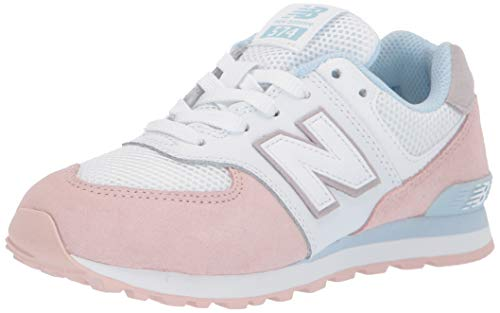New Balance Girls 574 V1 Leather Lace-Up Sneaker, Oyster Pink/Air, 12 Wide Little Kid