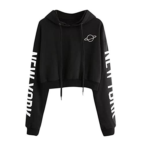 Damski sweter z długim rękawem Koreańskie litery Drukowane bluza z kapturem Crop Top Długi rękaw Bluza z kapturem Kobiety Jesień Najlepsze bluzka Teen Girls Sudaderas (Color : Black, Size : XL)