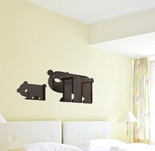 JHLP Animal Bear 3D Muursticker Babykamer Acryl Spiegel Decoratieve Sticker Art Achtergrond 57x21cm Zwart