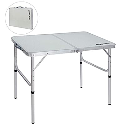 REDCAMP Folding Camping Table Portable Adjustable Height Lightweight Aluminum Folding Table for Outdoor Picnic Cooking, White 3 Foot