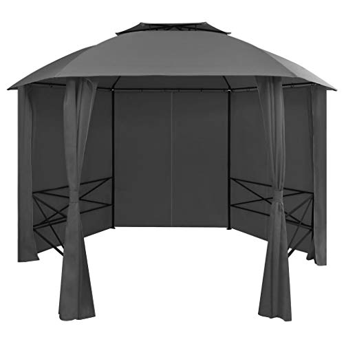 vidaXL Garden Marquee Pavilion Tent with Curtains Hexagonal Water-resistant Outdoor Patio Party Wedding Pop Up Gazebo Shelter Anthracite